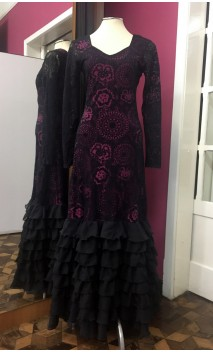 Black Devouré 8 Ruffles Flamenco Long-Dress w/Fuchsia Lining