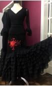 Embroidered Black & Red Flamenco Long-skirt 8 Ruffles