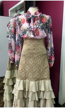 Camisa-Colant Chiffon Rosa Floral