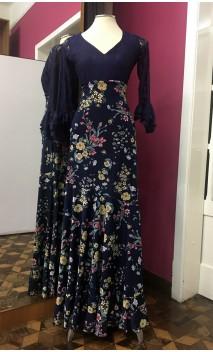 Falda Flamenca Godet Azul Marino Floral