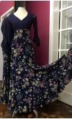Floral Navy Blue Godet Flamenco Long-Skirt
