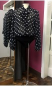 Black w/polka-dots Crepe Leotard-Shirt