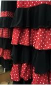Black Skirt w/Red Detail 5 Ruffles Flamenco Long-Skirt