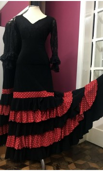 Black Skirt w/Red Detail 5 Ruffles Flamenco Long-Skirt