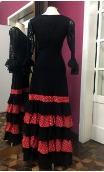 Saia Flamenca Preta c/Detalhe Vermelho 5 Babados