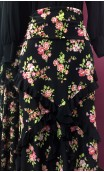 Floral Black Flamenco Long-skirt w/Small Ruffles