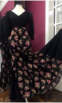 Falda Flamenca Negra Floral c/Volantitos