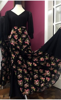 Floral Black Flamenco Long-skirt w/Small Ruffles
