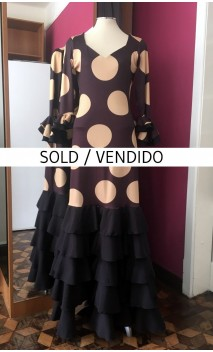 Black w/Golden Polka-dots Long-Dress 5 Ruffles