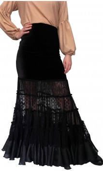 Saia Flamenca Lilly de Veludo e Tule