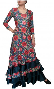 Grace Floral Flamenco Long-Dress 4 Ruffles