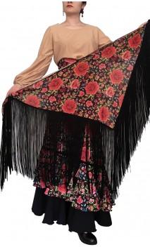 Floral Printed Flamenco Shawl w/Fringe