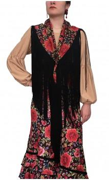 Mantoncillo Flamenco Floral con flecos 50 cm