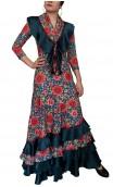 Floral Flamenco Scarf w/Satin Ruffle