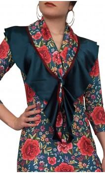 Pañuelo Flamenco Floral c/Volante de Satén