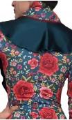 Xale flamenco floral c/babado de cetim