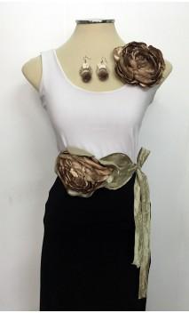 Golden Satin Flower, Satin Belt w/Flower & Earrings Set
