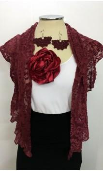 Burdeos Scarf, Earrings & Flower Set