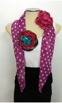 Fuchisia w/polka-dots Scarf & 2 Satin Flowers Set