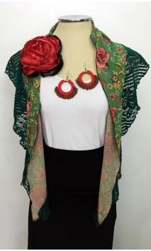 Floral Green Scarf, Crochet Earring & Flower Set