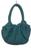 Blue Crochet Bag w/Applied Flowers