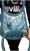 Bolsa de Crochet Azul c/Flores Aplicadas