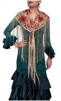 Mantoncillo Flamenco Beige Floral c/Flecos