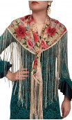 Beige Floral Flamenco Shawl w/Fringe