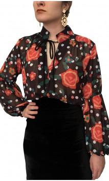 Camisa Judy Crepe Floral Tipo Malla