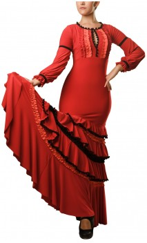 Long-Dress Manuela 4 Ruffles Red