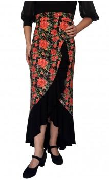 Saia Flamenca Agnes 1 Babado Estampada