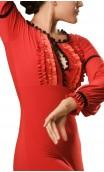 Long-Dress Manuela 4 Ruffles Red