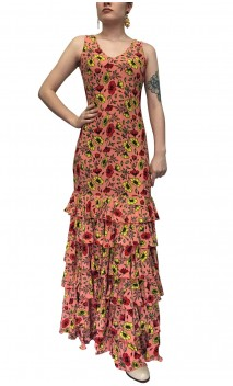 Ester Floral Flamenco Long-Dress