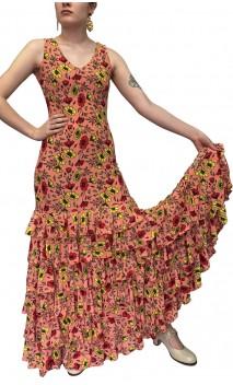 Ester Floral Flamenco Long-Dress