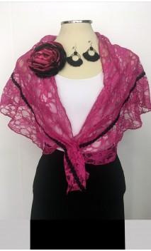 Conjunto Pink & Negro de Pañuelo, Pendientes de Crochet y Flor
