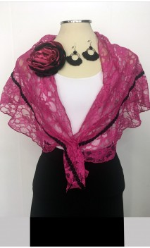 Lace Scarf, Crochet Earring & Flower Pink & Black Set