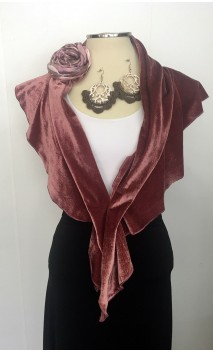 Rose Velvet Scarf, Earring & Flower Set
