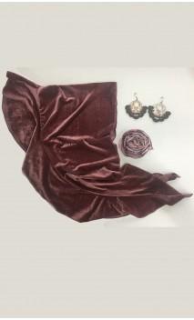 Rose Velvet Scarf, Earring & Flower Set