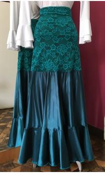 Jade Green Lace & Satin Flamenco Godet Long-Skirt
