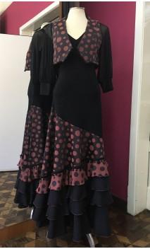 Conjunto Flamenco Negro con Lunares Óxido de Chaleco y Falda