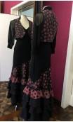 Vest & Long-Skirt Black w/Rusty Polka-dots Flamenco Set
