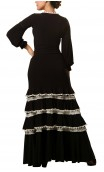 Long-Dress Manuela 4 Ruffles Black