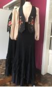 Black Flamenco Vest w/Colorful Floral Embroidering