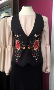 Black Flamenco Vest w/Colorful Floral Embroidering