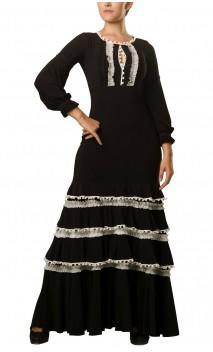 Long-Dress Manuela 4 Ruffles Black