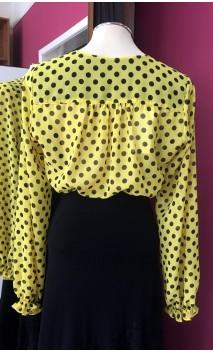 Camisa Amarilla con lunares negros Tipo Malla