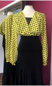 Camisa-Colant Amarela com bolinhas Pretas
