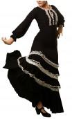 Vestido Manuela 4 Volantes Negro