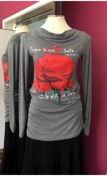 Blusa Gris c/ Rosa Roja