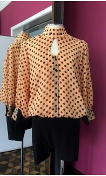 Orange w/black polka-dots Leotard-Shirt